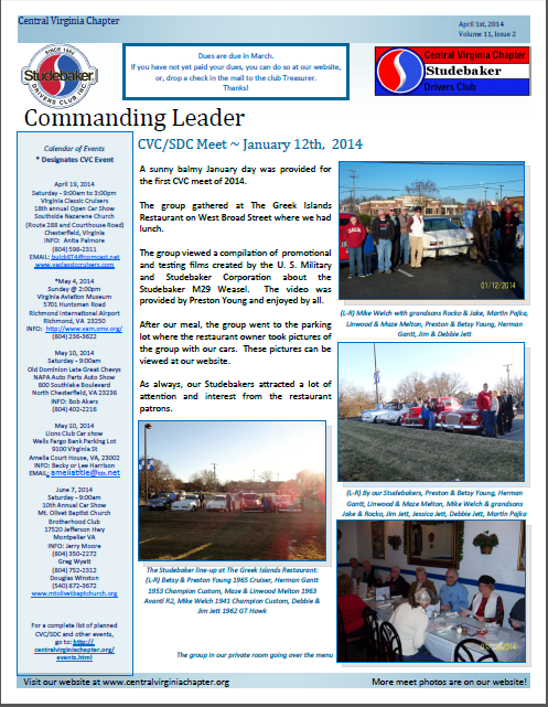 Click to view the April 1, 2014 newsletter