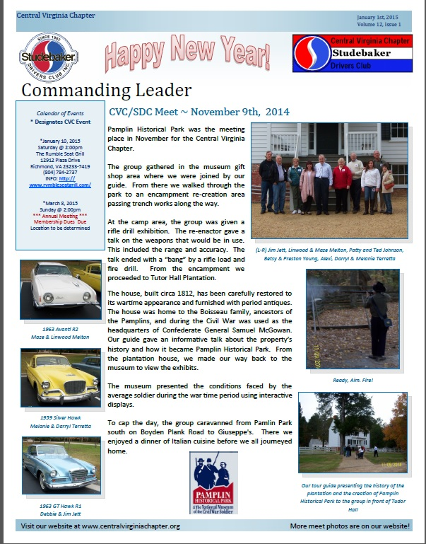 Click to view the January 1, 2015 newsletter