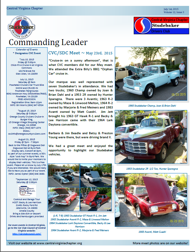 Click to view the Julyl 1, 2015 newsletter